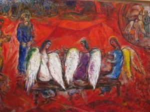 Chagall. Abraham and Sarah with the three messengers